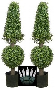 "2 ARTIFICIAL 38"" BOXWOOD IN OUTDOOR TOPIARY TREE PLANT CHRISTMAS LIGHTS CONE AND BALL"