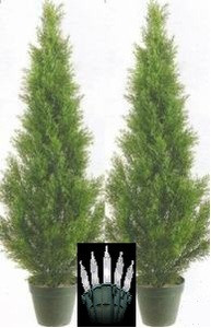 2 CEDAR 3' IN OUTDOOR TOPIARY TREE PLANT ARTIFICIAL BUSH POOL PATIO CYPRESS WITH CHRISTMAS LIGHTS