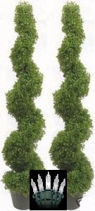 Two 4 foot 2 inch Outdoor Artificial Boxwood Spiral Topiary Trees Potted UV Rated Plants with Lights