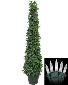 One 4 foot Artificial Tea Leaf Cone Tower Topiary Christmas Tree Potted Indoor or Outdoor with Clear Holiday Lights