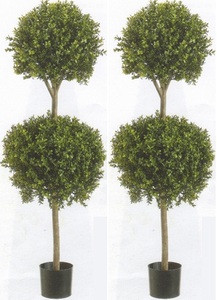 Two 56 inch Artificial Boxwood Double Ball Topiary Trees Potted UV Rated