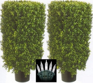 Two 30 inch Outdoor Artificial Boxwood Rectangle Topiary Trees Potted UV Rated Plants with Lights