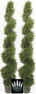Two 6 foot 4 inch Cedar Cypress Spiral Topiary Trees Potted UV Rated Plants with Lights