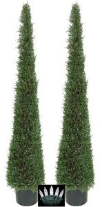 Two 6 foot Outdoor Artificial Cedar Cypress Cone Tower Topiary Trees Potted UV Rated Plants with Christmas Lights