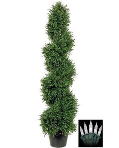 One 4 foot Artificial Rosemary Spiral Topiary Christmas Tree Potted Indoor or Outdoor with Holiday Lights