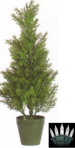 2ft CEDAR OUTDOOR TOPIARY TREE ARTIFICIAL UV CYPRESS  with CHRISTMAS LIGHTS