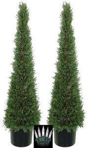 Two 4 foot Artificial Cedar Cypress Evergreen Tower Topiary Christmas Tree Potted Indoor or Outdoor with Clear Holiday Lights