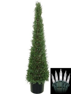 One 4 foot Artificial Cedar Cypress Cone Tower Topiary Christmas Tree Potted Indoor or Outdoor with Clear Holiday Lights