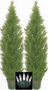 Two 7 foot Outdoor Artificial Cedar Topiary Trees Potted UV Rated Plants with Lights