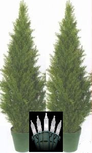 "2 TOPIARY 48"" IN OUTDOOR PLANT ARTIFICIAL BUSH CYPRESS TREE CEDAR POOL PATIO IVY WITH CHRISTMAS LIGHTS"
