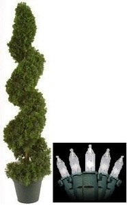 "38"" TOPIARY ARTIFICIAL OUTDOOR TREE CEDAR SPIRAL BUSH CYPRESS POOL WITH CHRISTMAS LIGHTS"