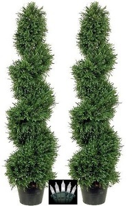 2 ROSEMARY TOPIARY TREE ARTIFICIAL OUTDOOR 3' SPIRAL BUSH POOL PATIO PLANT WITH CHRISTMAS LIGHTS
