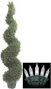 One 5 foot 4 inches ARTIFICIAL TOPIARY IN OUTDOOR ROSEMARY WIDE TREE PLANT WITH CHRISTMAS LIGHTS