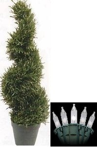 One 4 foot 2 inch Artificial Rosemary Topiary Christmas Tree Wide Potted Indoor or Outdoor with Holiday Lights