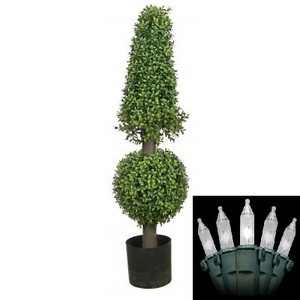 "38"" ARTIFICIAL BOXWOOD IN OUTDOOR TOPIARY TREE PLANT ARRANGEMENT CONE AND BALL POOL PATIO WITH CHRISTMAS LIGHTS"