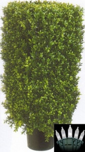 One 30 inch Outdoor Artificial Boxwood Rectangle Topiary Tree Potted UV Rated Plant with Lights