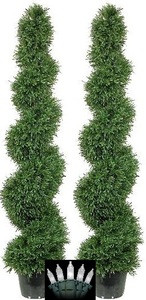 2 ARTIFICIAL TOPIARY OUTDOOR ROSEMARY TREE 5' SPIRAL BUSH PLANT POOL PATIO WITH CHRISTMAS LIGHTS