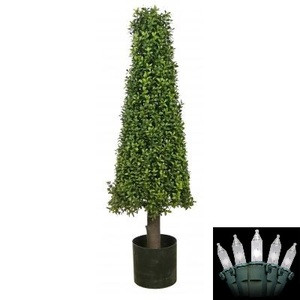 One 40 inch Artificial Boxwood Cone Tower Topiary Christmas Tree Potted with Holiday Lights