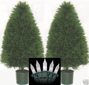 Two 3 Foot Artificial Cypress Cone Topiary Christmas Tree Potted Indoor or Outdoor with Clear Holiday Lights