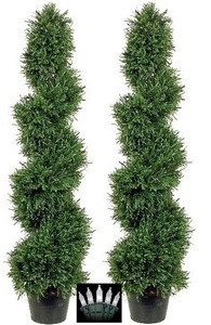Two 4 foot Outdoor Artificial Slim Rosemary Spiral Topiary Trees Potted UV Plants with Lights
