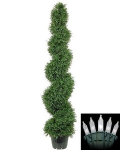 One 5 foot Artifiical Rosemary Spiral Topiary Christmas Tree Potted Indoor or Outdoor with Holiday Lights