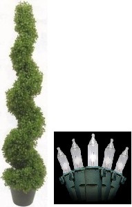 Artificial Boxwood Spiral Topiary Tree 5 feet 3 inch tall One Plant with Christmas Lights