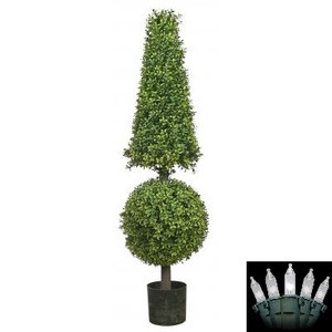 One 50 inch Artificial Boxwood Cone & Ball Topiary Christmas Tree Potted Indoor or Outdoor with Holiday Lights