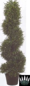 3' ROSEMARY SPIRAL TOPIARY TREE ARTIFICIAL IN OUTDOOR PLANT BUSH PLANT POOL WITH CHRISTMAS LIGHTS
