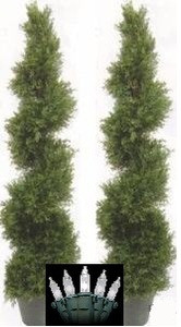 Two 5 foot 4 inch Outdoor Artificial Cedar Cypress Spiral Topiary Trees UV Rated Potted Plants with Holiday Lights