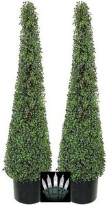 Two 4 foot Artificial Boxwood Evergreen Tower Topiary Christmas Tree Potted Indoor or Outdoor with Clear Holiday Lights