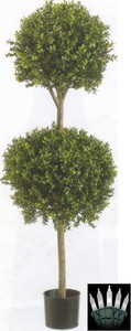 "56"" BOXWOOD DOUBLE BALL ARTIFICIAL IN OUTDOOR TOPIARY TREE PLANT ARRANGEMENT PORCH DECK WITH CHRISTMAS LIGHTS"