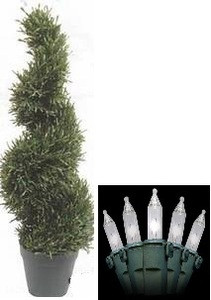 3ft ROSEMARY TOPIARY WIDE ARTIFICIAL TREE IN OUTDOOR PLANT WITH CHRISTMAS LIGHTS