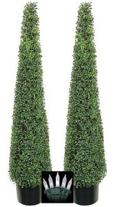 Two 5 foot Tea Leaf Evergreen Cone Tower Topiary Christmas Tree Potted Indoor or Outdoor with Clear Holiday Lights