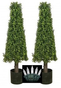 Two 40 inch Artificial Boxwood Cone Tower Topiary Christmas Tree Potted Indoor or Outdoor with Clear Holiday Lights