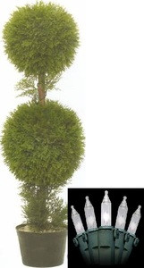 One 36 inch Outdoor Artificial Cedar Double Ball Topiary Tree Potted UV Rated Plant with Christmas Lights
