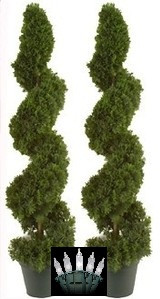 "2 TOPIARY 38"" ARTIFICIAL IN OUTDOOR TREE CEDAR SPIRAL CYPRESS JUNIPER EVERGREEN WITH CHRISTMAS LIGHTS"