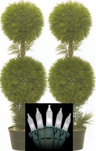 Two 36 inch Outdoor Artificial Cedar Cypress Double Ball Trees Potted UV Rated Plants with Lights