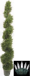 One 6 foot 4 inch Outdoor Artificial Cedar Cypress Spiral Topiary Tree UV Rated Potted Plant with Holiday Lights