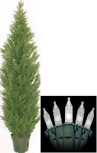 One 8 foot Outdoor Artificial Cedar Topiary Tree Potted UV Rated Plant with Lights