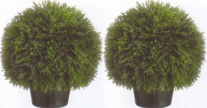 Two 20 inch Artificial Cedar UV Rated Topiary Ball Potted