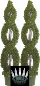 Two 5 foot Outdoor Artificial Cedar Double Spiral Topiary Trees Potted UV Rated Plants with Holiday Lights