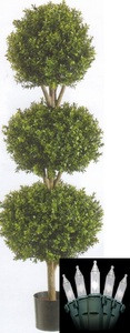 One 66 inch Artificial Boxwood Triple Ball Topiary Trees Potted With Christmas Lights Outdoor UV Rated