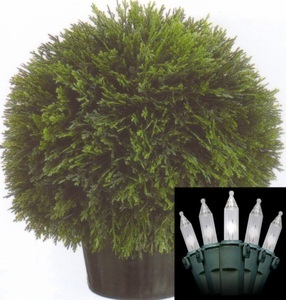 One 20 inch Artificial Cedar Ball Topiary Tree Potted Indoor or Outdoor With Christmas Lights
