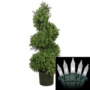 """36"""" ARTIFICIAL WIDE BOXWOOD IN OUTDOOR TOPIARY TREE PLANT ARRANGEMENT SPIRAL PATIO WITH CHRISTMAS LIGHTS"""