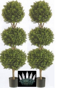 Two 66 inch Artificial Boxwood Triple Ball Topiary Trees Potted With Christmas Lights