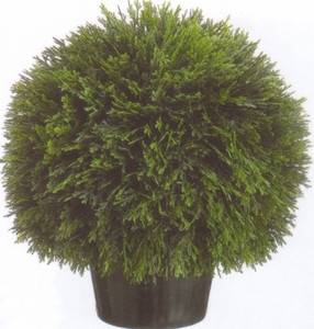 One 20 inch Artificial Cedar Ball UV Rated Topiary Bush Potted