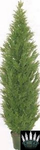 One 5 foot Outdoor Artificial Cedar Topiary Tree Potted UV Rated Plant with Christmas Lights