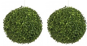 Two 14 inch Outdoor Artificial Long Leaf Boxwood Topiary Balls UV Rated Plants