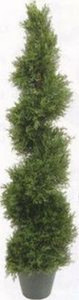 One 4 foot 3 inch Outdoor Artificial Cedar Cypress Spiral Topiary Tree UV Rated Potted Plant
