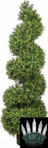 One 46 inch Outdoor Artificial Boxwood Spiral Topiary Tree Potted UV Rated Plant with Lights